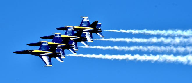 The Blue Angels perform during the National Cherry Festival over Traverse City.