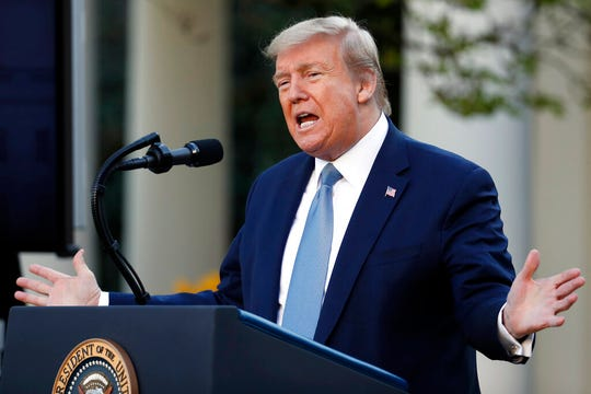 President Donald Trump speaks about the coronavirus in the Rose Garden of the White House, Wednesday, April 15, 2020, in Washington.