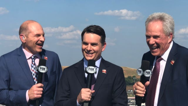 Former WEVV broadcaster Adam Alexander (left) shares a laugh with fellow Fox sports members Jeff Gordon (center) and Darrell Waltrip before a NASCAR telecast.