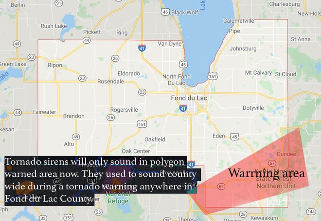 Warning sirens, which activate when the National Weather Service issues a tornado warning, will sound only in the area of the county the threat is in, according to a press release from Fond du Lac County Emergency Management.