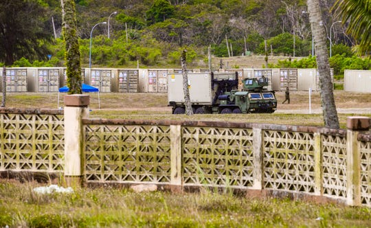 The staging of shipping containers by military personnel and other activity could be observed within the confines of the Navy's South Finegayan Royal Palms housing area in Dededo on Thursday, April 16, 2020. Seabees assigned to Construction Battalion Maintenance Unit3 are in the process of constructing an Expeditionary Medical Facilityon the Department of Defenseproperty in response to the coronavirus pandemic.