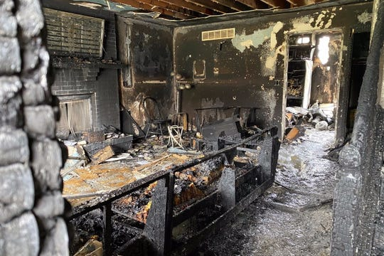 The home of Ricci and Mikkel Brown after a fire caused about $175,000 in damage on April 14, 2020, in Coralville. A GoFundMe fundraiser raised more than $30,000 for the family within days of its launch.