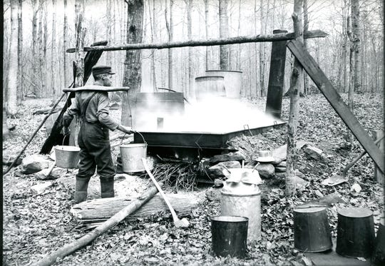 Local farmers have tapped maples for years. Groton photographer Verne Morton documented the early 20th century process on farms throughout the area. In these photographs from ca. 1906 we can see different aspects of the process, including boiling sap into syrup.