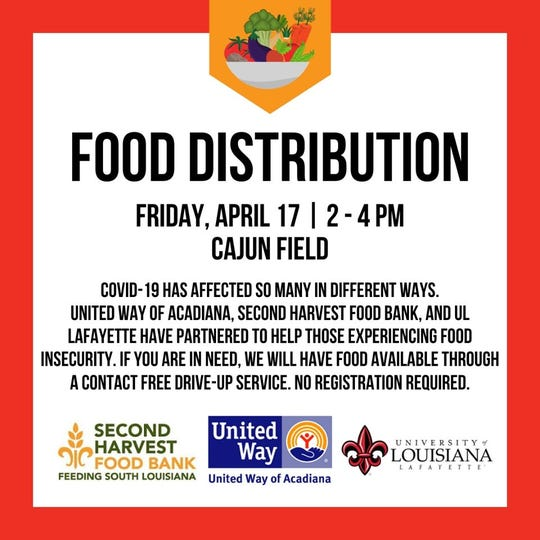 United Way of Acadiana, along withSecond Harvest Food BankandUniversity of Louisiana at Lafayette, are hosting acontact free drive-thru food distribution for anyone experiencing economic hardship.
