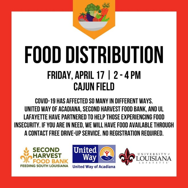 United Way of Acadiana, along with Second Harvest Food Bank and University of Louisiana at Lafayette, are hosting a contact free drive-thru food distribution for anyone experiencing economic hardship.