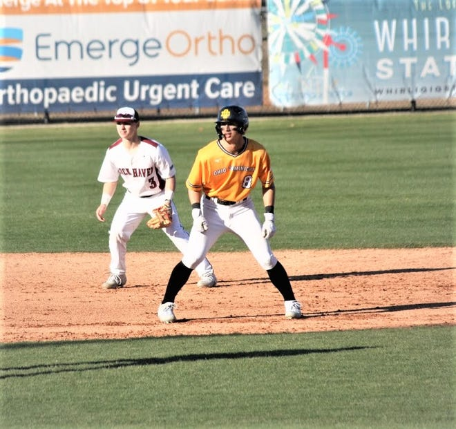 Former Bloom-Carroll standout Roger Danison, who now plays at Ohio Dominican University, takes a lead at second base during a game earlier this season. After playing four years at Xavier University, Danison was hitting .277 for the Panthers this spring before the season was canceled because of the coronavirus pandemic.