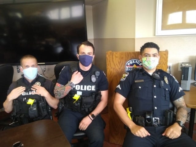 The face masks were made and donated by Hour of Need volunteers.