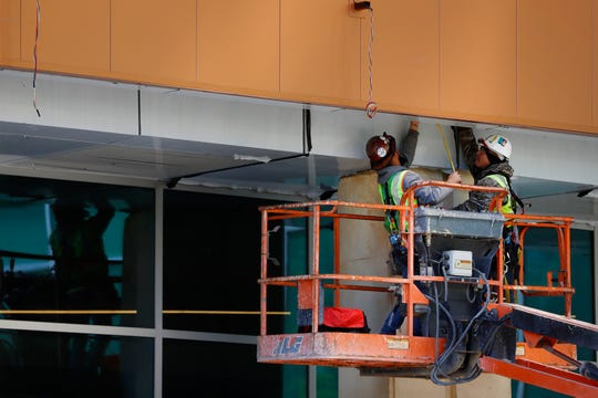 Construction continues on the $200 million renovation to the Memphis Convention Center on Thursday, April 16, 2020.