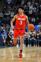 Jan 18, 2020; University Park, Pennsylvania, USA; Ohio State Buckeyes guard D.J. Carton (3) dribbles up the court against the Penn State Nittany Lions during the second half at the Bryce Jordan Center. Mandatory Credit: Rich Barnes-USA TODAY Sports
