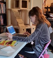 Susie Robarge, who has autism, works on her laptop at home.