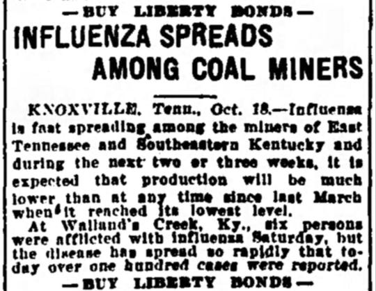Coverage of the Spanish Flu pandemic in the Oct. 19, 1918 issue of the Nashville Tennessean.