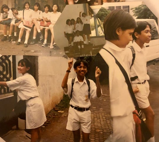 A collage of photos shows Stevanus Fariz at school in Indonesia when he was a child.