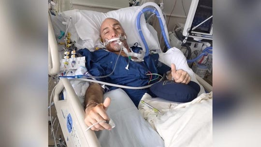 Paul DeWyse before undergoing a double lung transplant at Michigan Medicine in Ann Arbor.