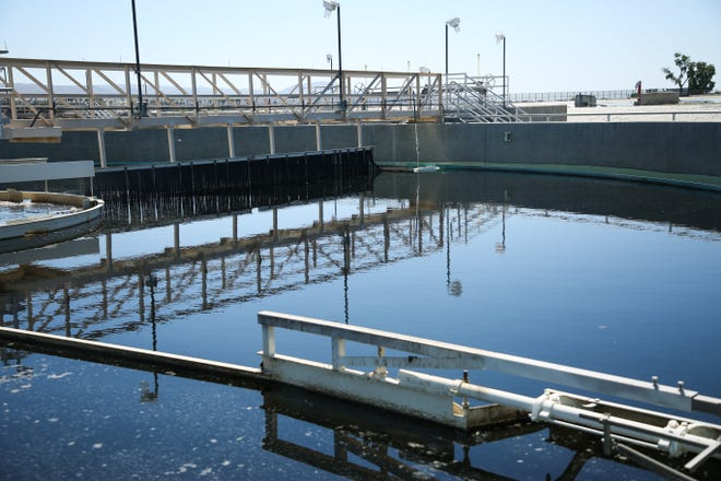 Secondary clarifiers treat water at Valley Sanitary District on Thursday, April 16, 2020, in Indio, Calif.