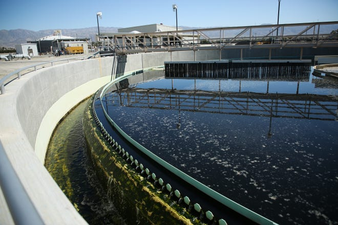 Secondary clarifiers treat water at Valley Sanitary District on Thursday, April 16, 2020 in Indio, Calif.