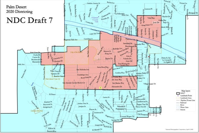"""This map outlines the boundaries for Palm Desert's new two-district voting system. District 1, the """"Civic Center core"""" district, will elect one representative every four years and represents about 20% of the population. The outlying district represents 80% of the city's population and will have four representatives on the council, two elected every two years."""