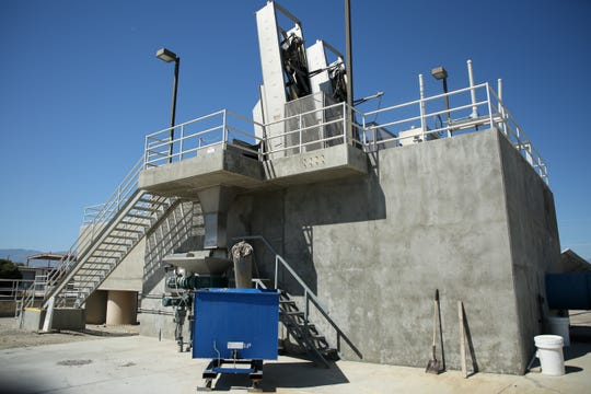 Bar screens filter out large items as a first step in the water treatment process at Valley Sanitary District on Thursday, April 16, 2020 in Indio, Calif.