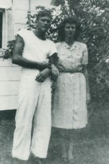 Raymond Boraiko with his sister, Mildred, in 1945.