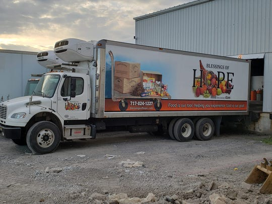 A Blessings of Hope truck. The wholesale food bank helps distribute donations to organizations across the region.