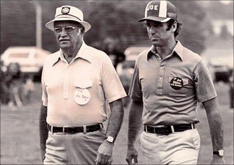 "This photo shows Joseph R. Biden, Sr. with his son, then Senator Joseph R. Biden, Jr. They are wearing badges, which note: ""I'm Joe Biden, Sr."" and ""I'm Joe Biden, U.S. Senator."""