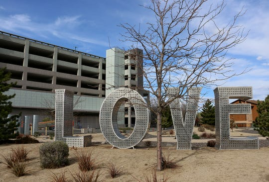 "A statue of the word ""LOVE"" is seen at the Renown  Regional Medical Center in Reno on April 15, 2020."
