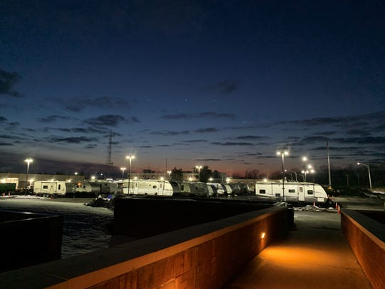 The RVs and campers in which sequestered National Grid employees are sleeping during their month away from their homes.