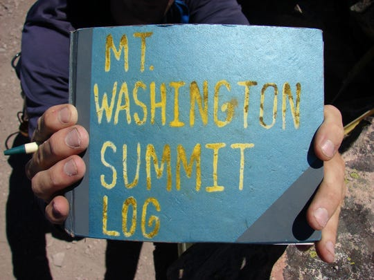 Those who reach the summit of Mount Washington can sign their names in the summit log.
