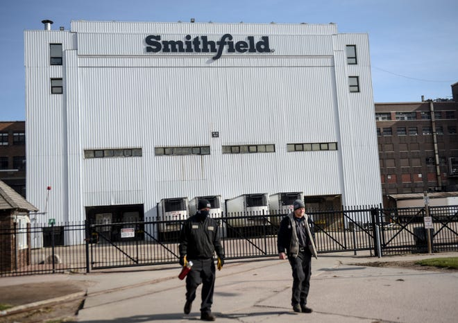 Smithfield Foods is seen on Thursday, April 16, 2020 in Sioux Falls, S.D. The meatpacking plant is the nation's largest hot spot for COVID-19.