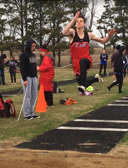 Weston Geraets qualified for the Class B state meet in the triple jump with this attempt last year in Chester.