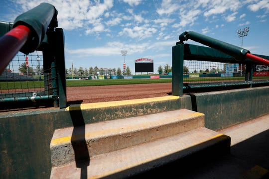 There were no fans to watch the players run out of the dugout for the first time on what would have been the Springfield Cardinals' home opener at Hammons Field on Thursday, April 16, 2020.
