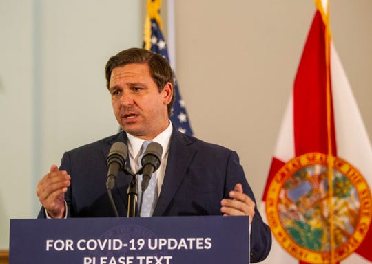 Gov. Ron DeSantis gives updates on the coronavirus impact in Florida during a press conference held in the Historic Capitol, Thursday, April 16, 2020.