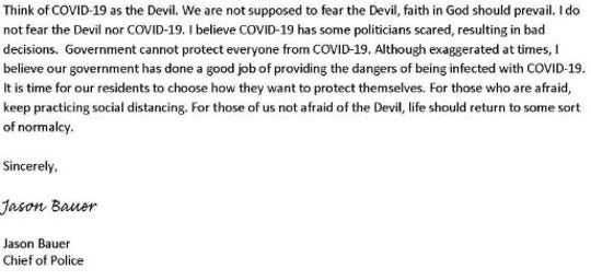 Jason Bauer, chief of the Colby-Abbotsford Police Department, compared COVID-19 to the Devil in a letter to Gov. Tony Evers. He shared the letter on Facebook.