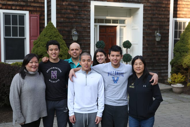 Everyone who lives in Iona coach Steve Alvarado's household is believed to have gotten the Coronavirus. From left, Vivian, Xander, Steve, Tyler, Isabella, Jordan and Patty outside their their Bedford Hills home  April 15, 2020.