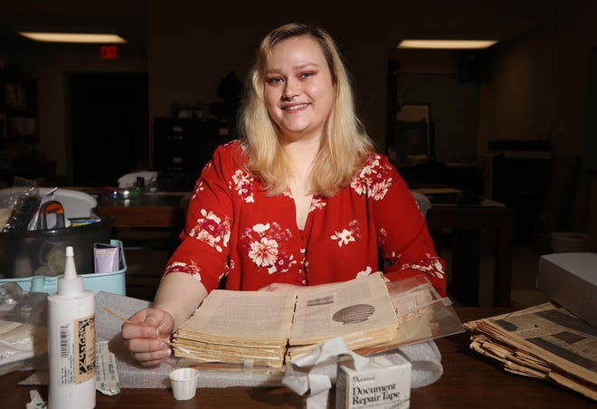 Reba Kocher is the collections manager and the social media coordinator at the Johnson-Humrickhouse Museum in Coshocton. Part of her duties includes restoring old books, although she has a variety of duties, including help to create and run educational programs for the musuem.