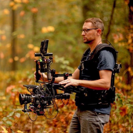 """Filmmaker Dan Parsons on the set of """"The Reliant,"""" a feature film starring Kevin Sorbo that was shot in Muskingum and Coshocton area and released in 2019."""