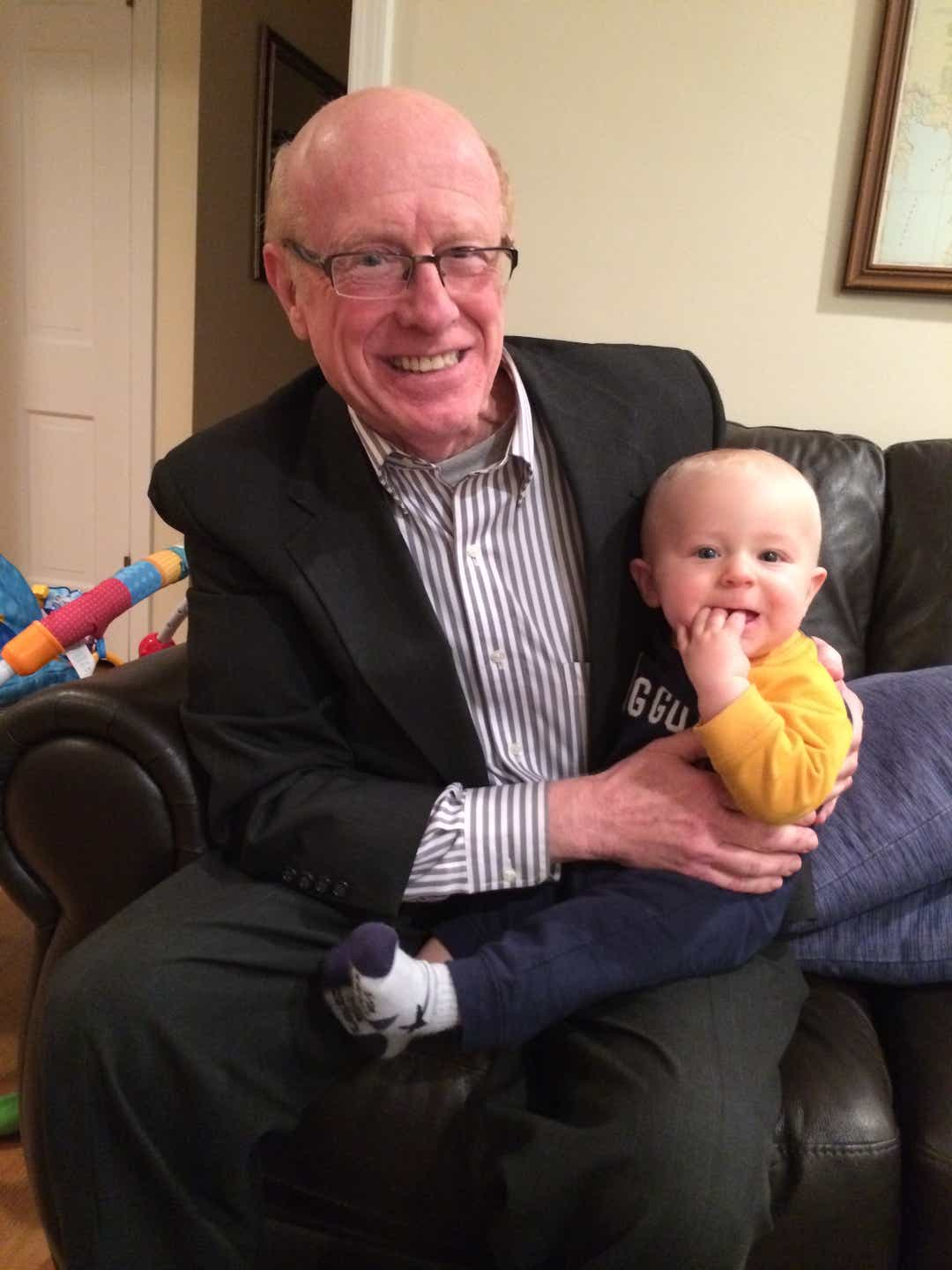 Donald Adair and his grandson, Leo, in a photo taken in 2013 when Leo was six months old. we hear you