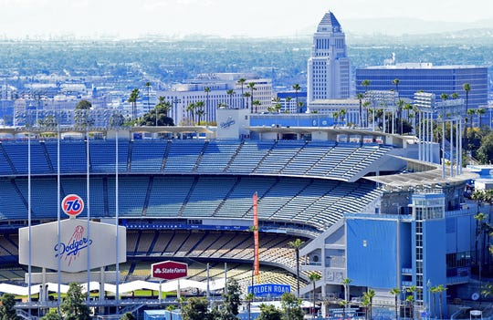 Dodger Stadium remains empty during what would have been the MLB opening day on March 26.