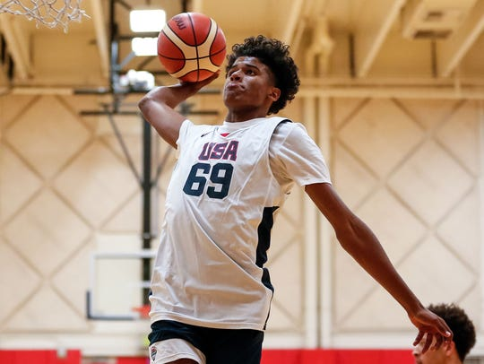USA Men's Junior National Team participant Jalen Green (69) dunks during minicamp at the U.S. Olympic Training Center.