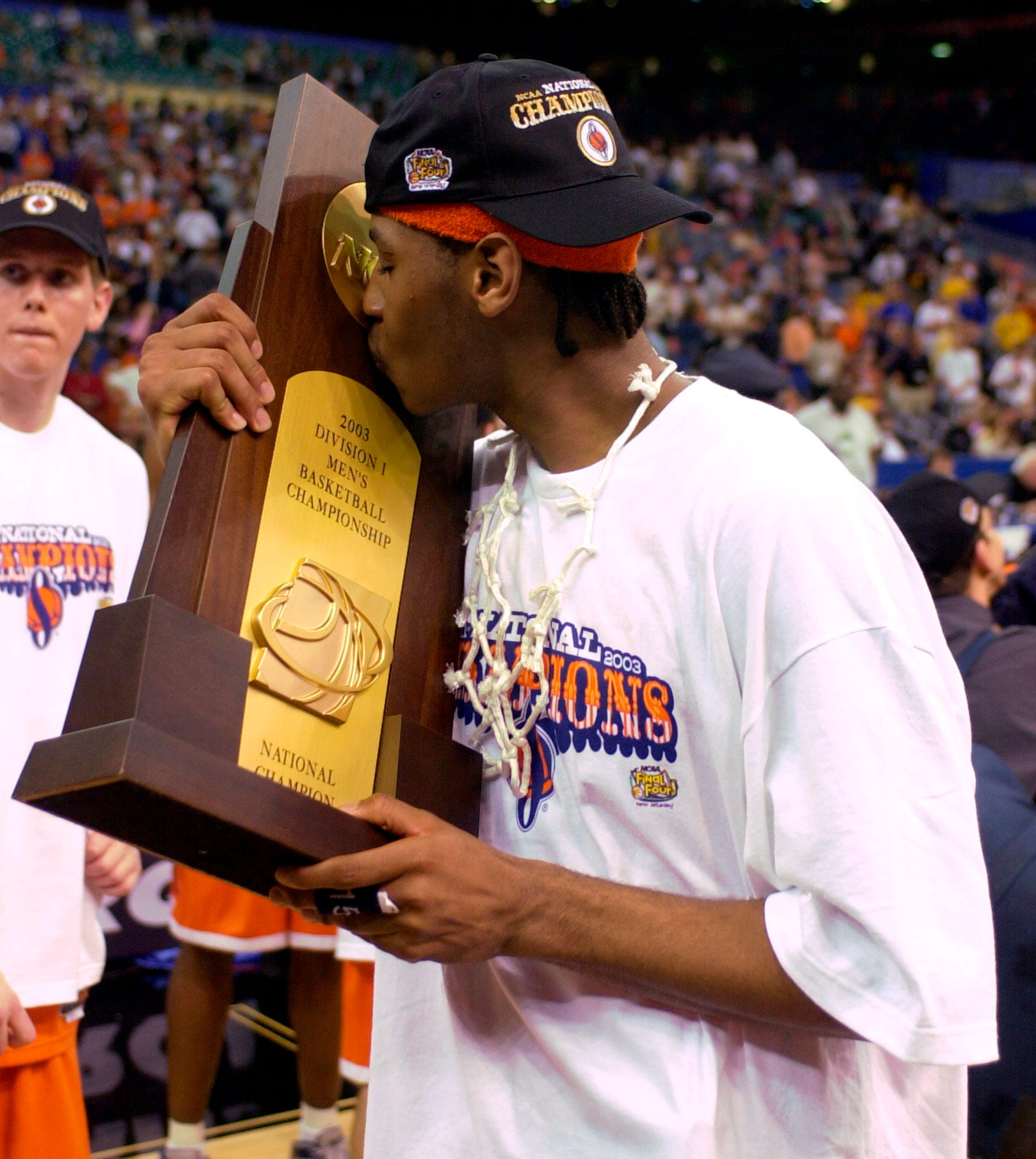 Syracuse's Carmelo Anthony after winning the NCAA championship over Kansas as a freshman. He was also named the most outstanding player of the Final Four.