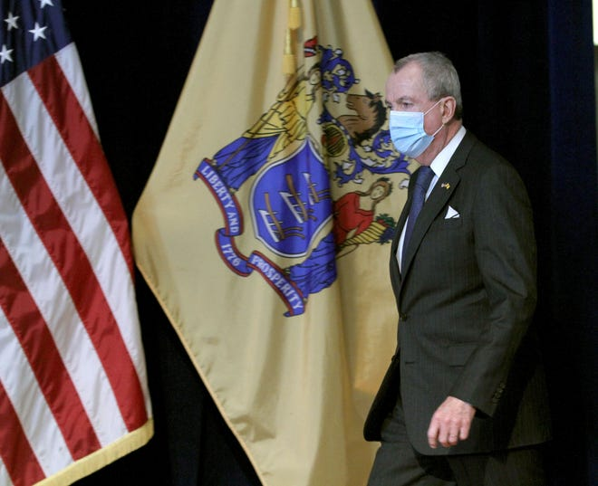 New Jersey Governor Phil Murphy arrives at the War Memorial in Trenton, NJ, to update the media on the State's response to the coronavirus Friday, April 17, 2020.