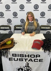 Bishop Eustace's Carli Davy signs her National Letter of Intent to St. Joseph's University.