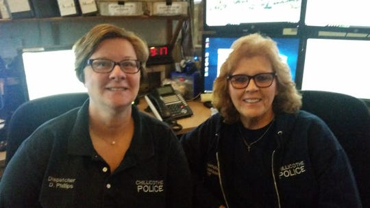 Dispatchers Diane Phillips (left) and Rebecca Matson (right) of the Chillicothe Police Department. Matson has been part of the team for 21 years, Phillips for 26.