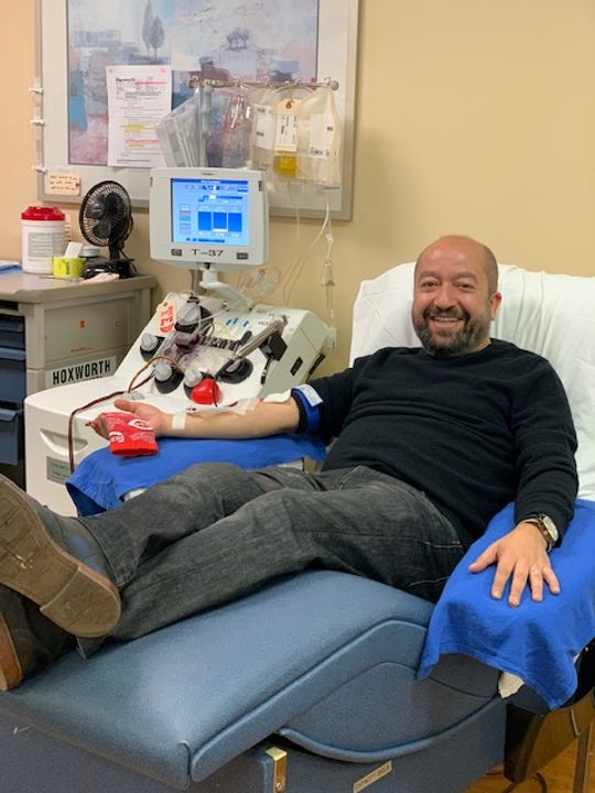 Mohammad Alagha of Clifton was the first donor April 17 to Hoxworth Blood Center's collection of blood plasma to study as a treatment for COVID-19 at UC Health and the Christ Hospital Health Network.