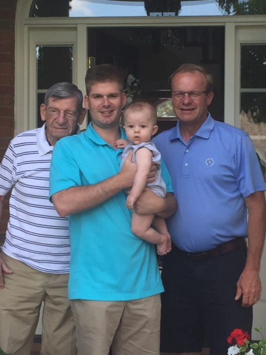 Four generations of Hayes' men pose for a photo. From the left, Harold Hayes, Steve Hayes, Ken Hayes and Mason Hayes in his dad's arms.