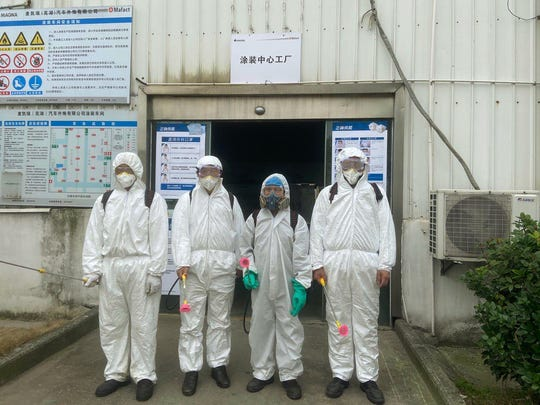 The disinfection team in Wuhu, Anhui Province on Feb.12.