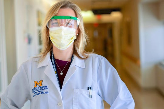 Dr. Valerie Vaughn, 35, a hospitalist, and lead of a moderate-care unit for coronavirus patients at Michigan Medicine. She also is an assistant professor at the University of Michigan Medical School.