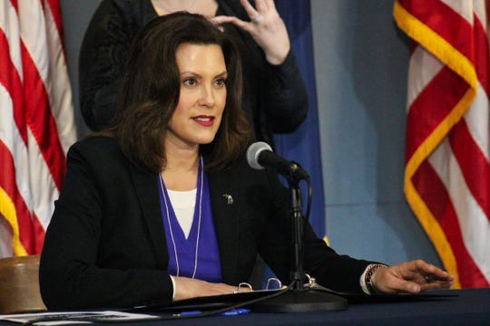 Governor Gretchen Whitmer gives an update on COVID-19 during a news conference on April 17, 2020.