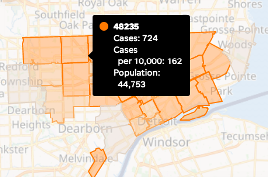 Detroit released data on the number of coronavirus cases by ZIP code on Friday, April 17, 2020.