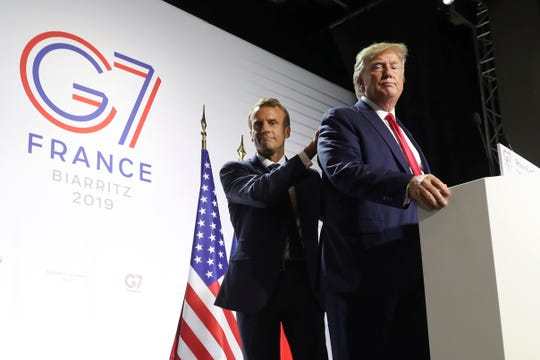 FILE - In this Aug. 26, 2019 file photo, President Donald Trump and French President Emmanuel Macron wrap up a joint press conference at the G-7 summit in Biarritz, France.