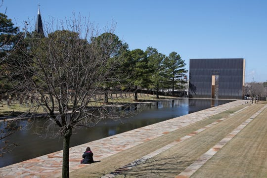 The reflecting pool at the Oklahoma City National Memorial and Museum in Oklahoma City.